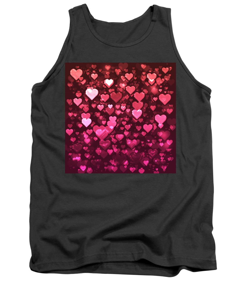 Bokeh Tank Top featuring the digital art Vibrant Pink And Red Bokeh Hearts by Shelley Neff
