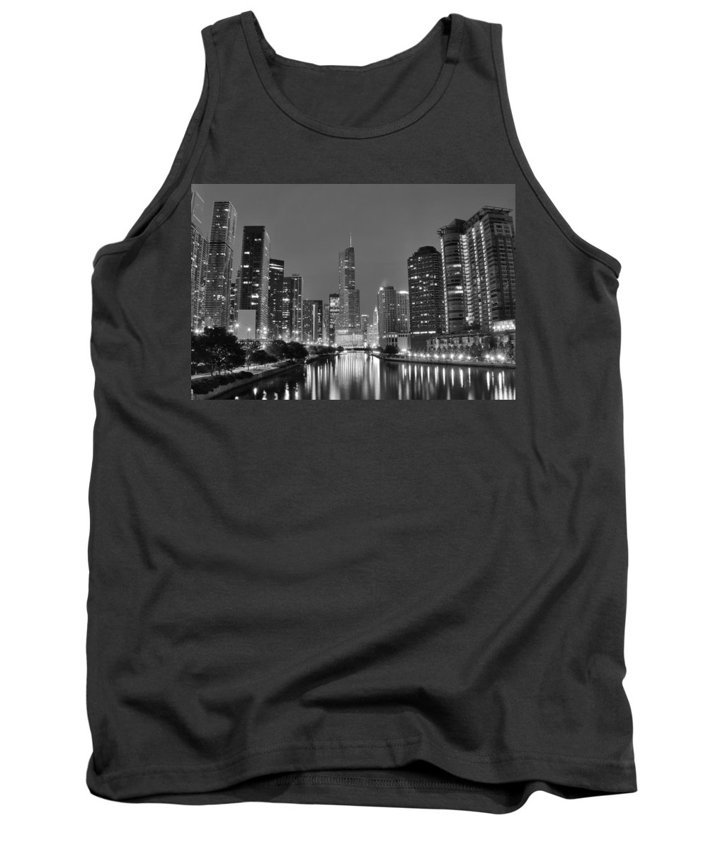 Chicago Tank Top featuring the photograph View Down The Chicago River by Frozen in Time Fine Art Photography