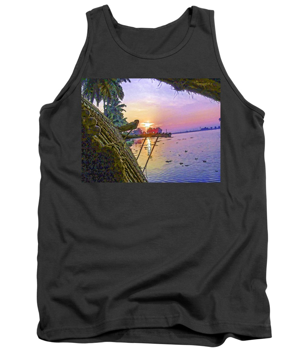 Alleppey Tank Top featuring the digital art View Of Sunrise From A Houseboat by Ashish Agarwal