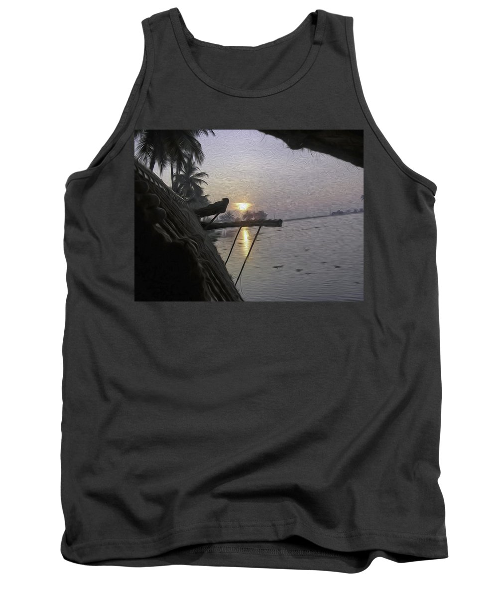 Alleppey Tank Top featuring the digital art View Of Sunrise From The Window Of A Houseboat by Ashish Agarwal