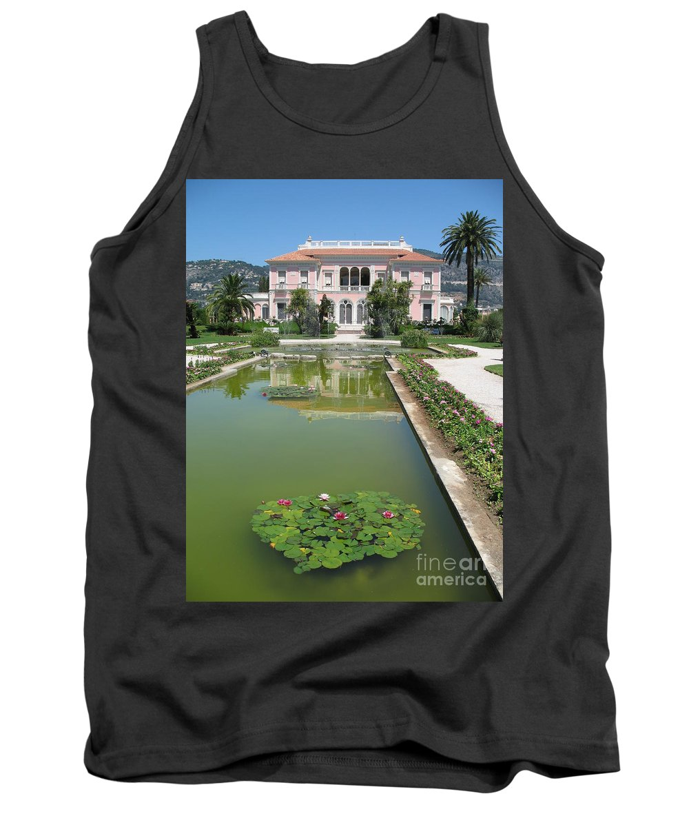 Villa Tank Top featuring the photograph Villa Ephrussi De Rothschild With Reflection by Christiane Schulze Art And Photography