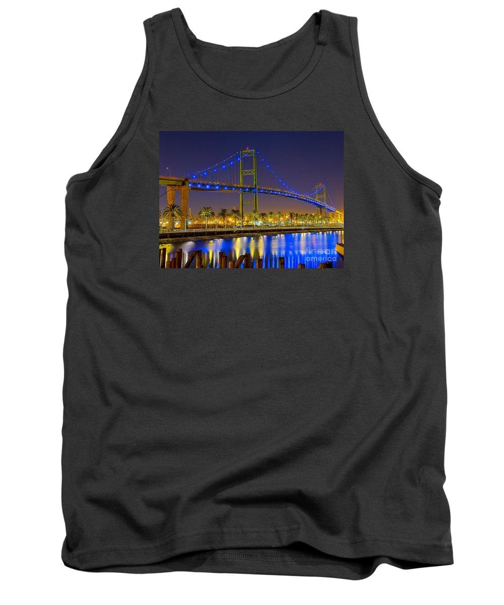 Bridge Tank Top featuring the photograph Vincent Thomas Bridge - Nightside by Jim Carrell