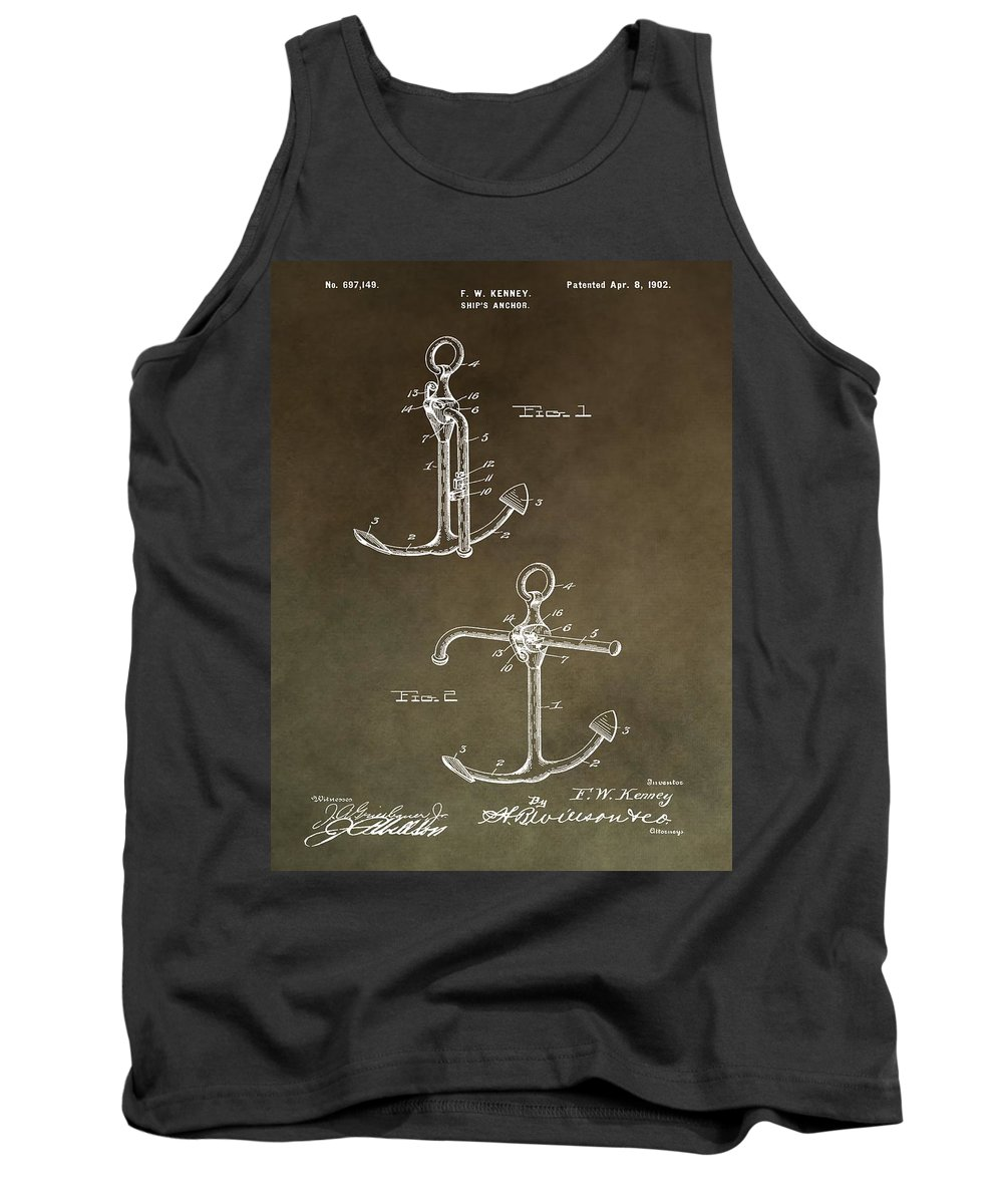 Vintage 1902 Anchor Patent Tank Top featuring the mixed media Vintage 1902 Anchor Patent by Dan Sproul