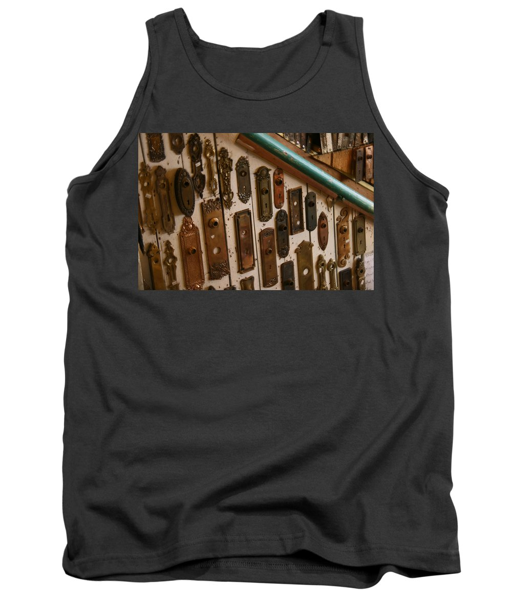 Hippo Hardware Tank Top featuring the photograph Vintage And Antique Door Knob And Lock Plates by Elizabeth Rose