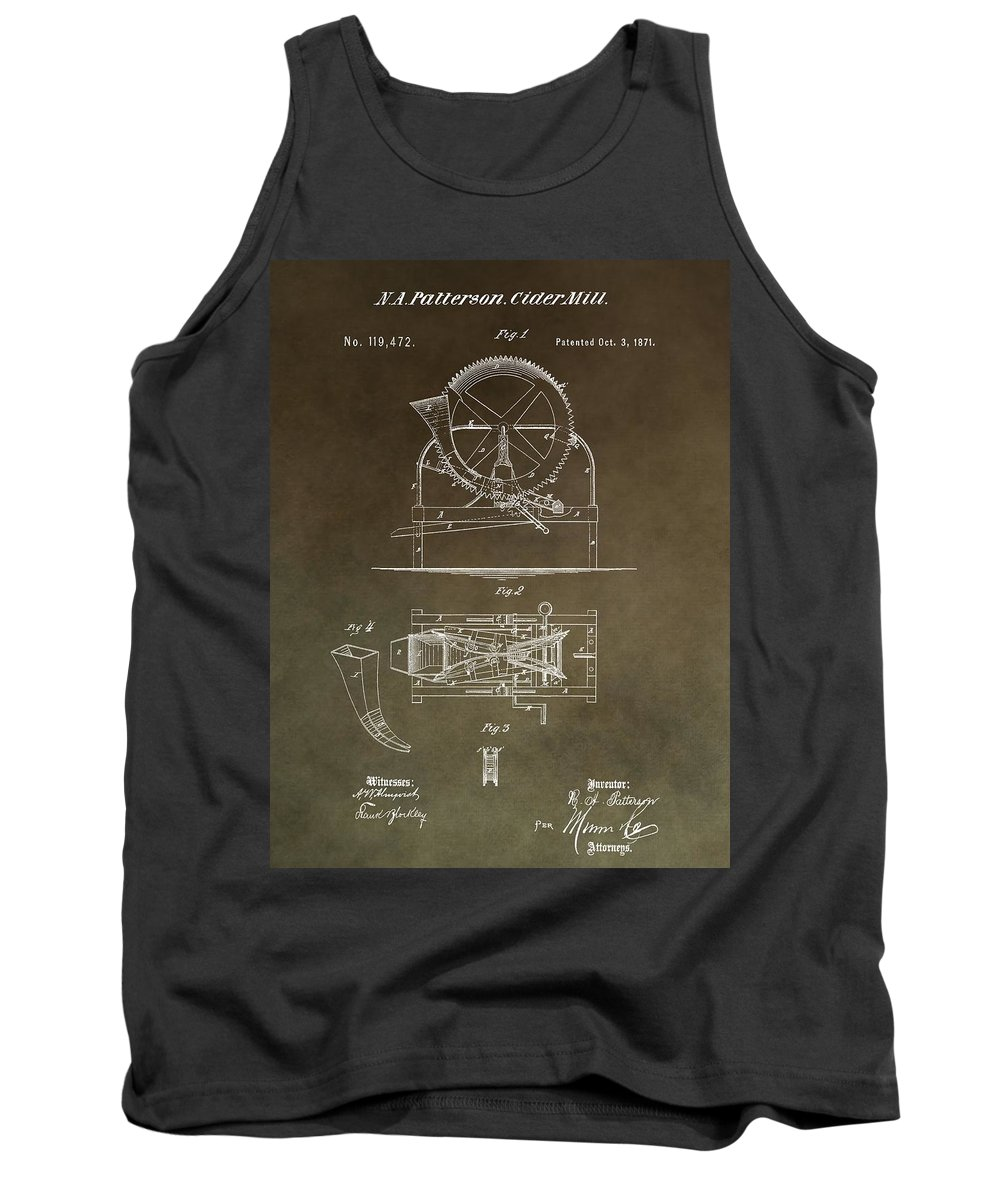 Vintage Cider Mill Patent Tank Top featuring the mixed media Vintage Cider Mill Patent by Dan Sproul