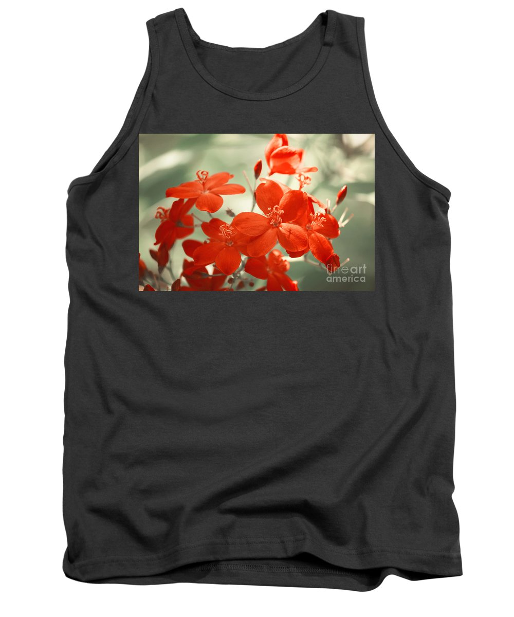 Photography Tank Top featuring the photograph Vintage Red Flowers by Jackie Farnsworth