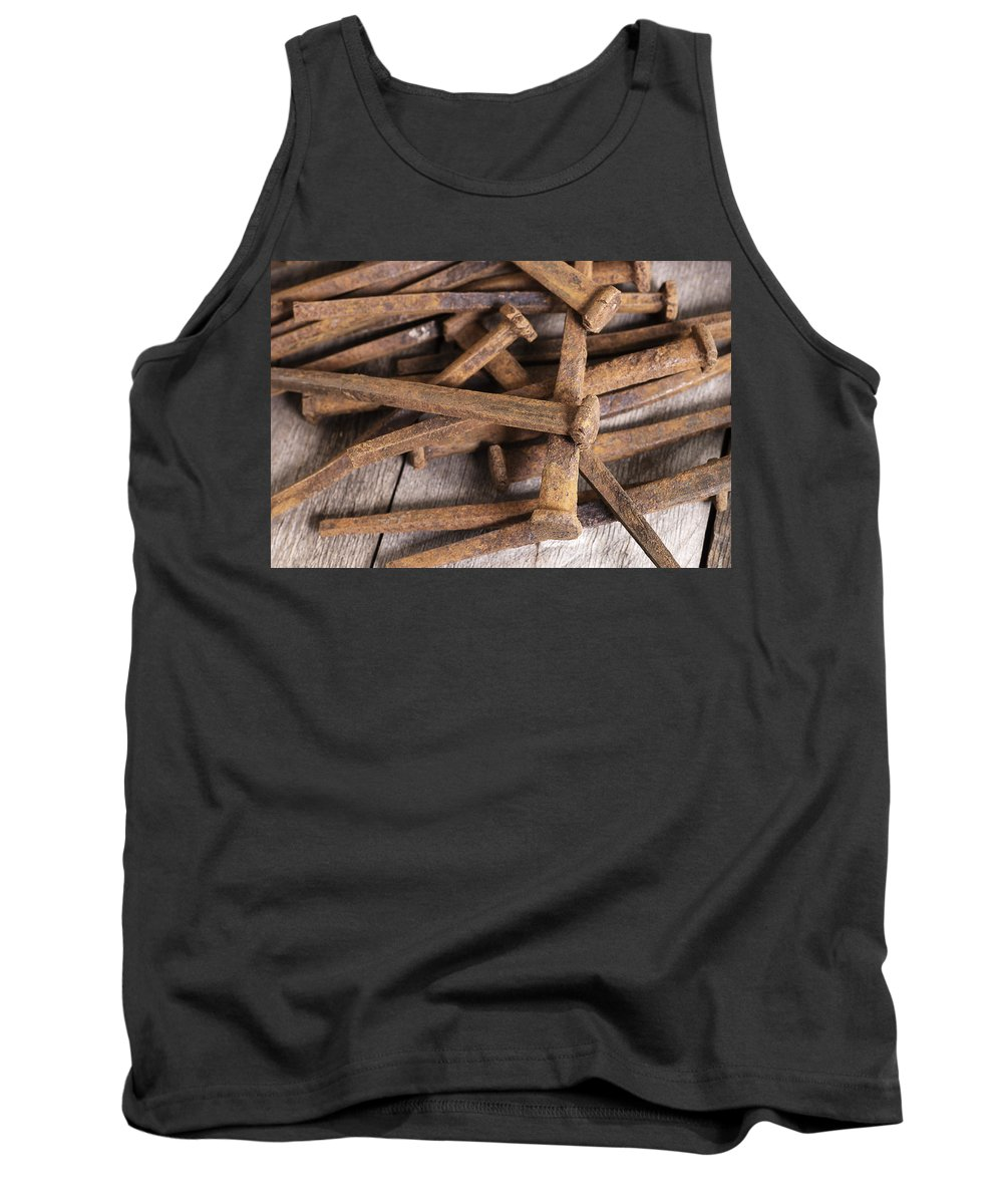 Nails Tank Top featuring the photograph Vintage Rusty Square Nails by Donald Erickson