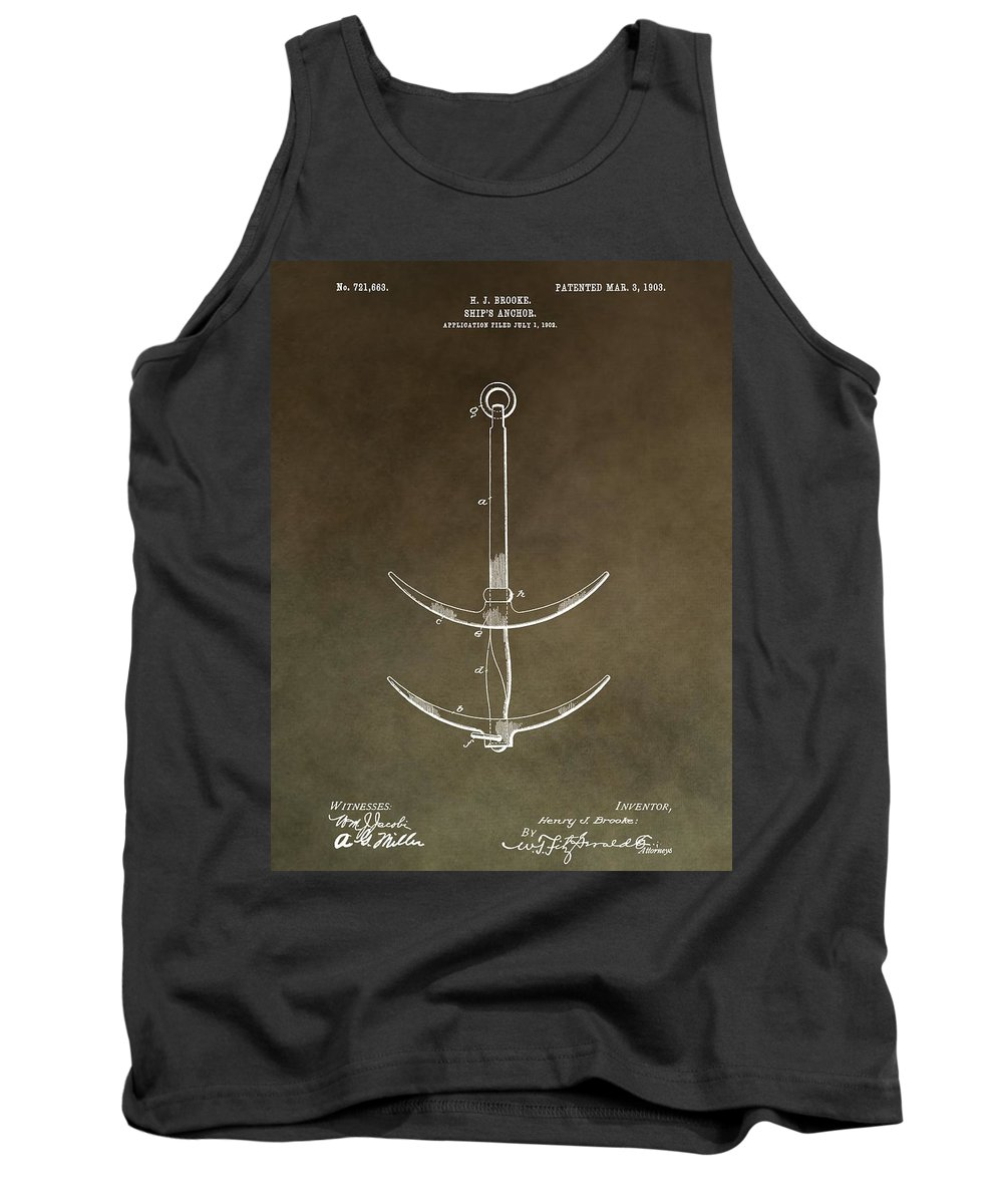 Vintage 1903 Anchor Patent Tank Top featuring the mixed media Vintage Ship's Anchor Patent by Dan Sproul
