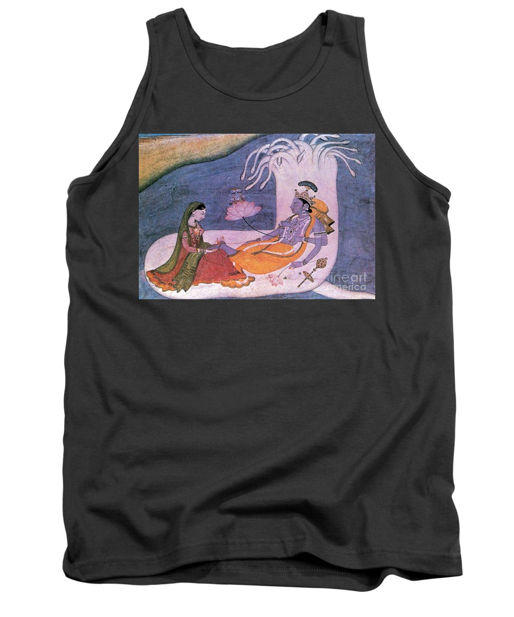 Religion Tank Top featuring the photograph Vishnu And Lakshmi Float Across Cosmos by Photo Researchers