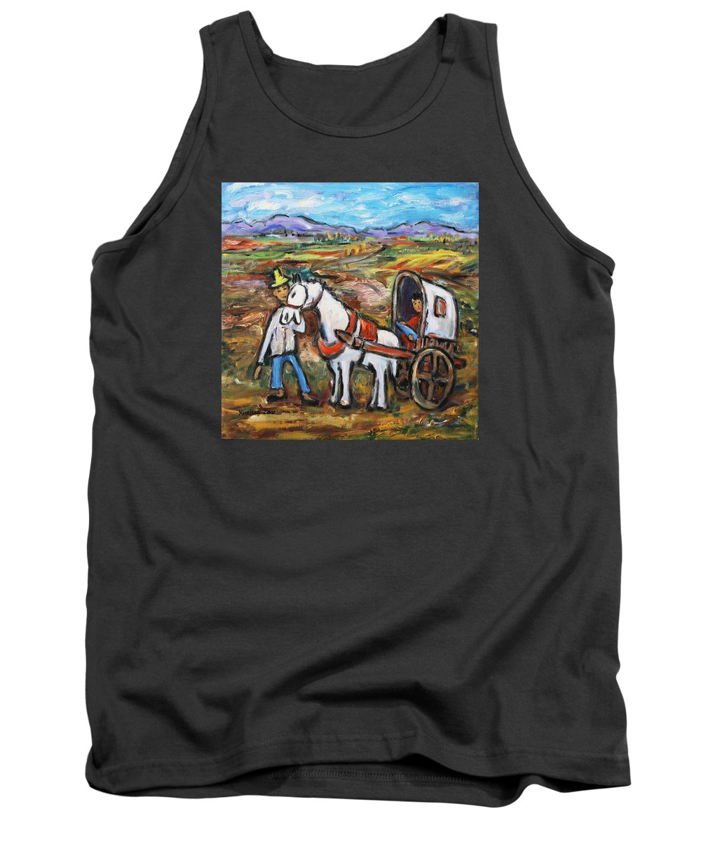 Figurative Tank Top featuring the painting Visit The In-laws by Xueling Zou