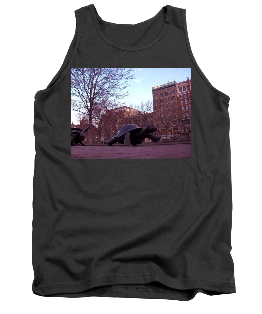 Turtle Tank Top featuring the photograph Visitors - Copley Square by Marcello Cicchini