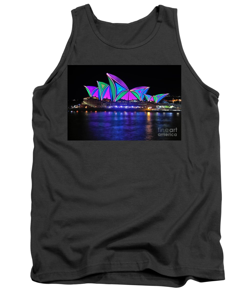 Photography Tank Top featuring the photograph Vivid Sydney By Kaye Menner - Opera House... Patterns 2 by Kaye Menner