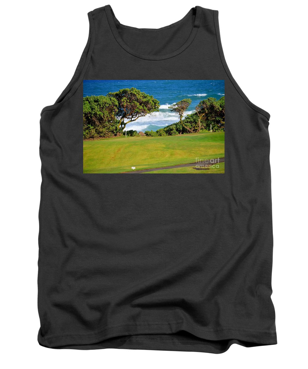 Golf Tank Top featuring the photograph Wailua Golf Course - Hole 17 - 2 by Mary Deal