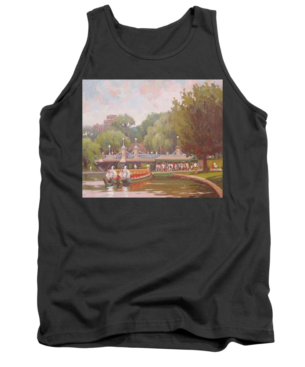 Swan Boats Tank Top featuring the painting Waiting for a Ride by Dianne Panarelli Miller