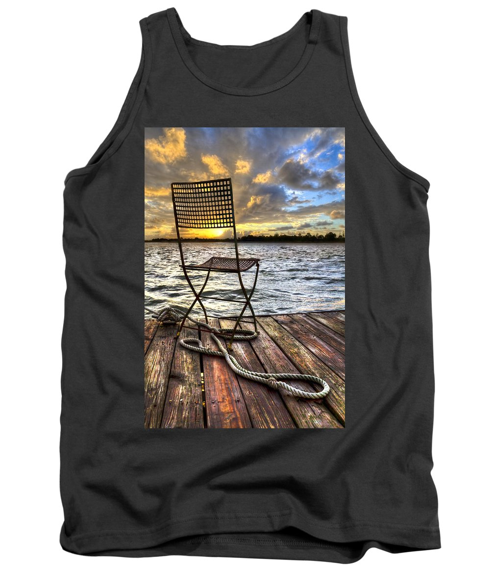 Boats Tank Top featuring the photograph Waiting For The Captain by Debra and Dave Vanderlaan