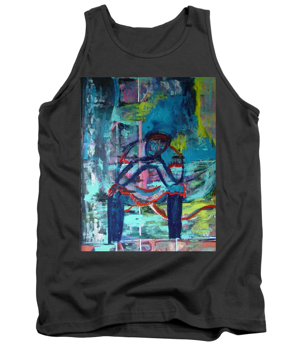 Woman On Bench Tank Top featuring the painting Waiting by Peggy Blood