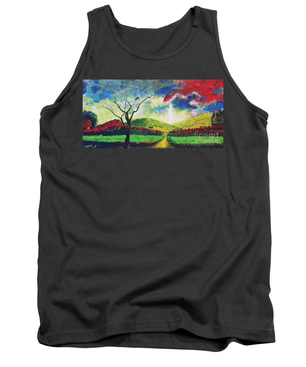 Landscape Tank Top featuring the painting Waiting by Stefan Duncan