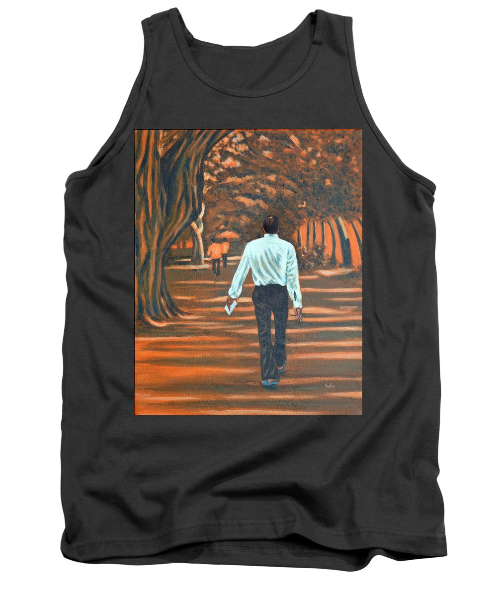 Usha Tank Top featuring the painting Walk In The Woods by Usha Shantharam