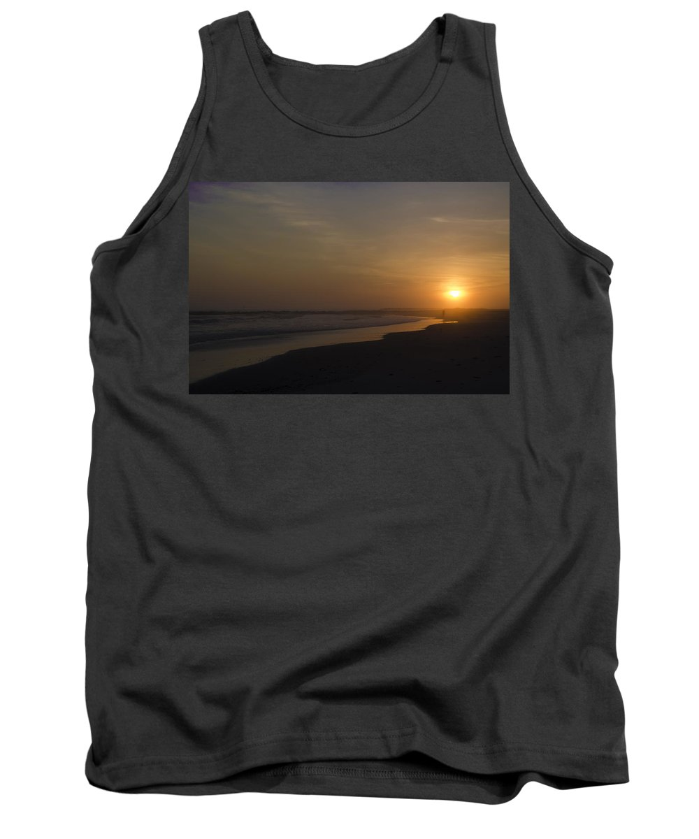 Walking Tank Top featuring the photograph Walking Down The Beach by Bill Cannon