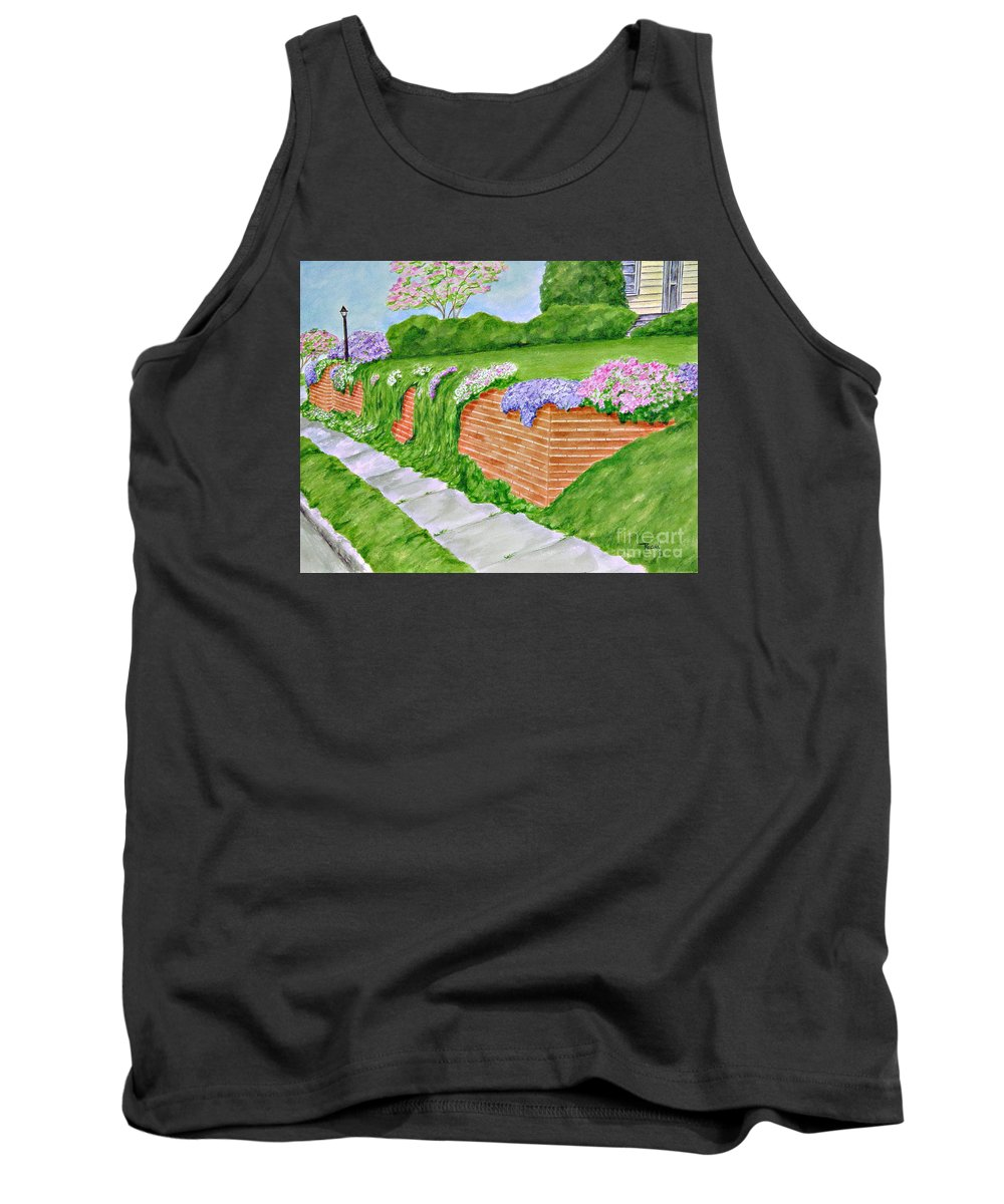 Landscape Tank Top featuring the painting Wall Of Flowers by Regan J Smith