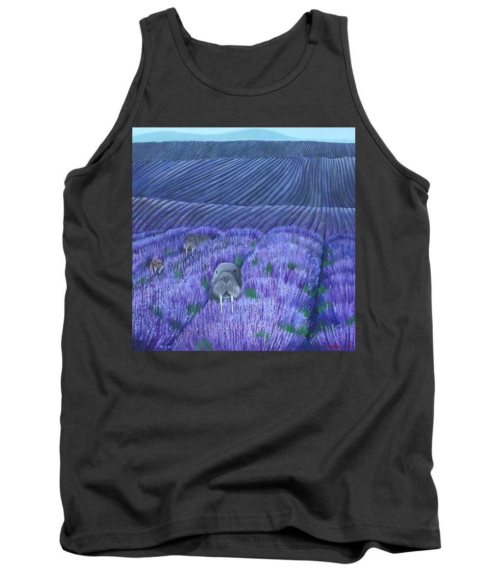 Walrus Tank Top featuring the painting Walruses In A Field Of Lavender by Erin Nessler