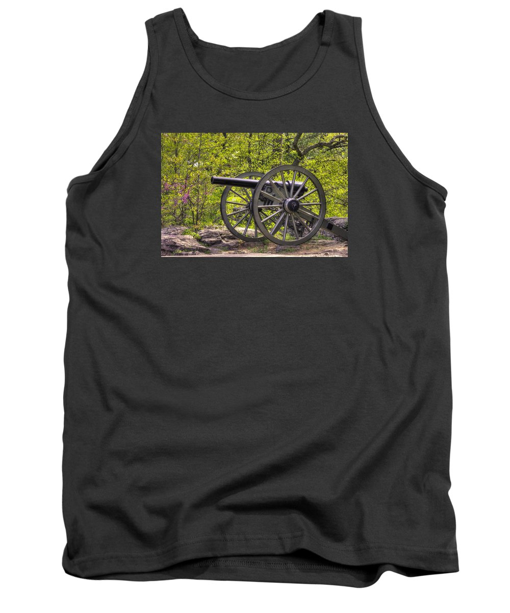 Civil War Tank Top featuring the photograph War Thunder - 5th United States Artillery Hazletts Battery - Little Round Top Gettysburg Spring by Michael Mazaika