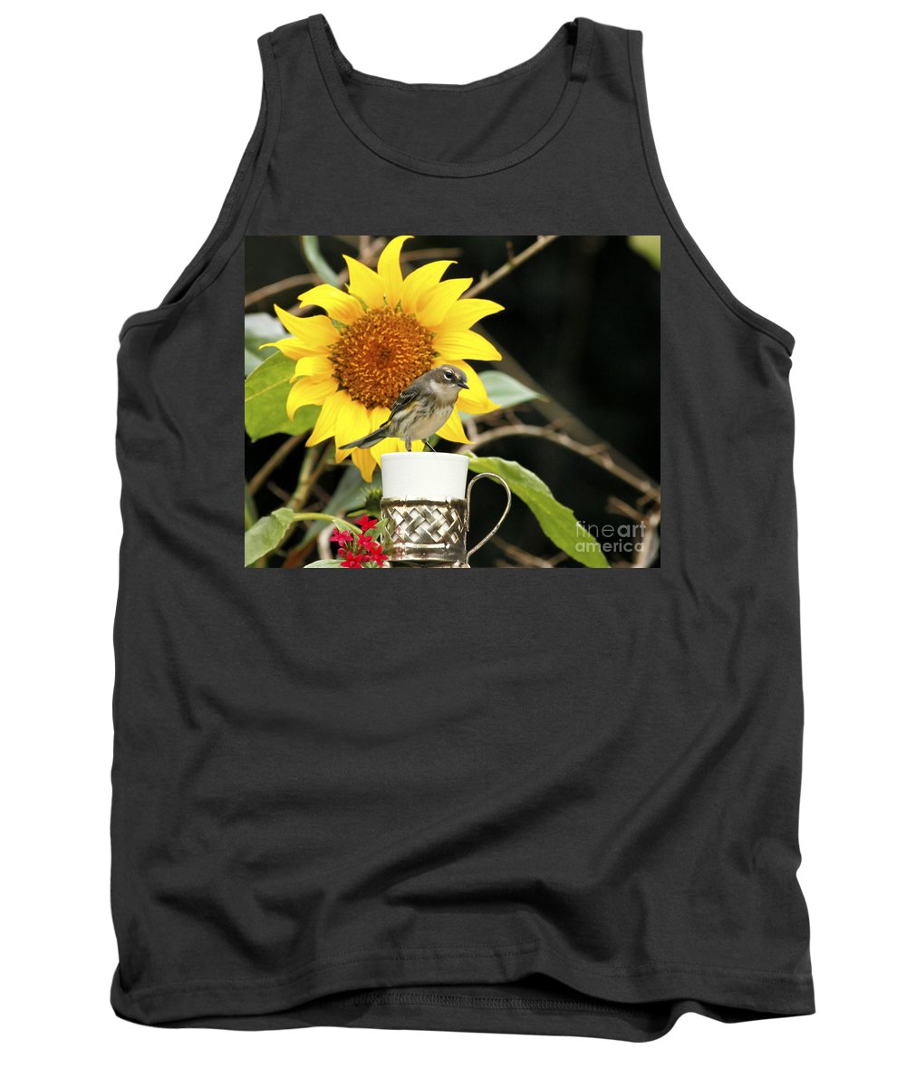 Palm Warbler Photo Tank Top featuring the photograph Sunflower And Warbler Bird by Luana K Perez
