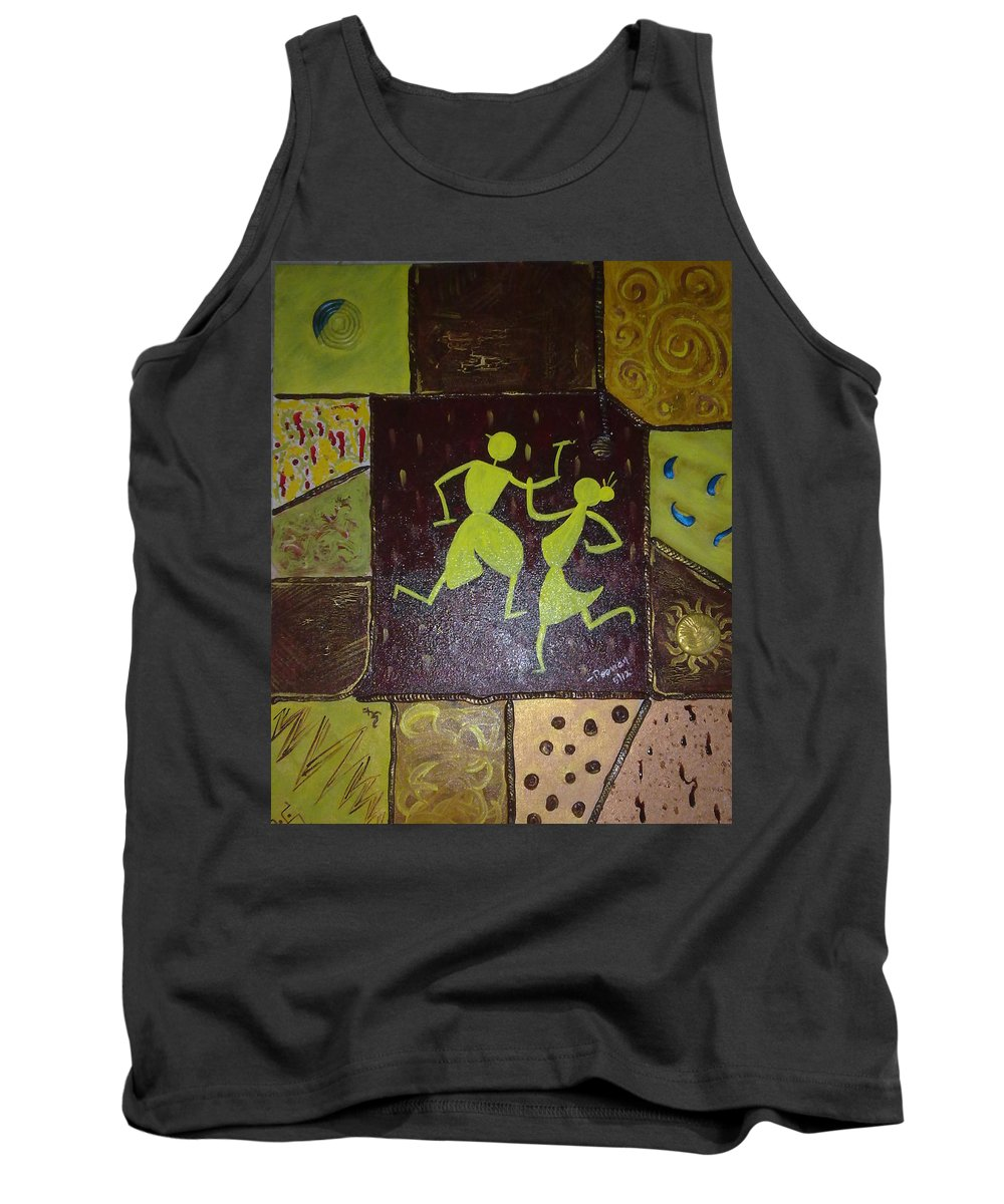 Warli On Canvas Tank Top featuring the painting Warli Dance by Poornima Ravi