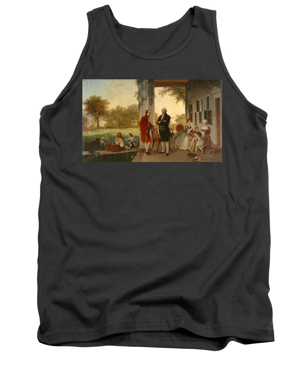 Rossiter And Mignot Tank Top featuring the painting Washington And Lafayette At Mount Vernon by Rossiter and Mignot