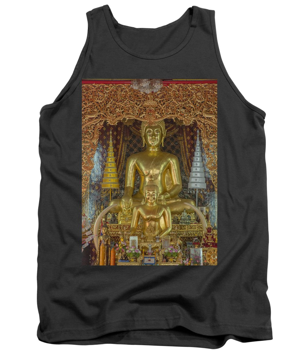 Scenic Tank Top featuring the photograph Wat Chai Monkol Phra Ubosot Buddha Images Dthcm0849 by Gerry Gantt