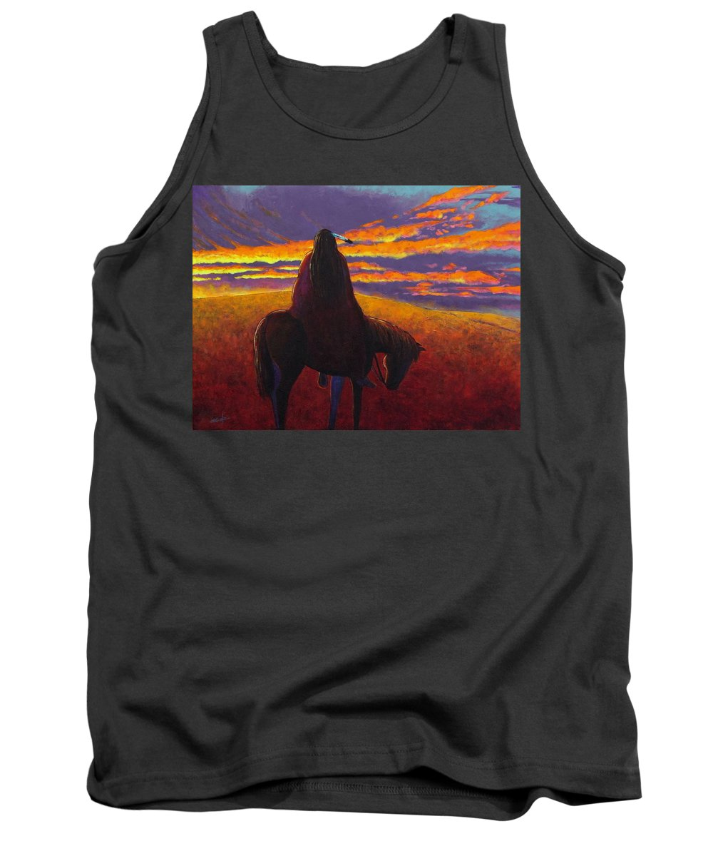 Native American Indian Tank Top featuring the painting Watching The Magic by Joe Triano