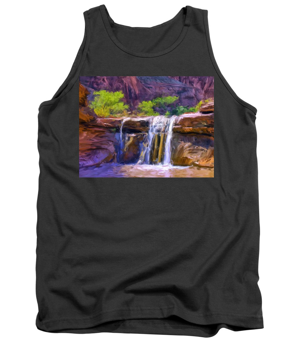 Waterfall Tank Top featuring the painting Waterfall At Coyote Creek by Dominic Piperata