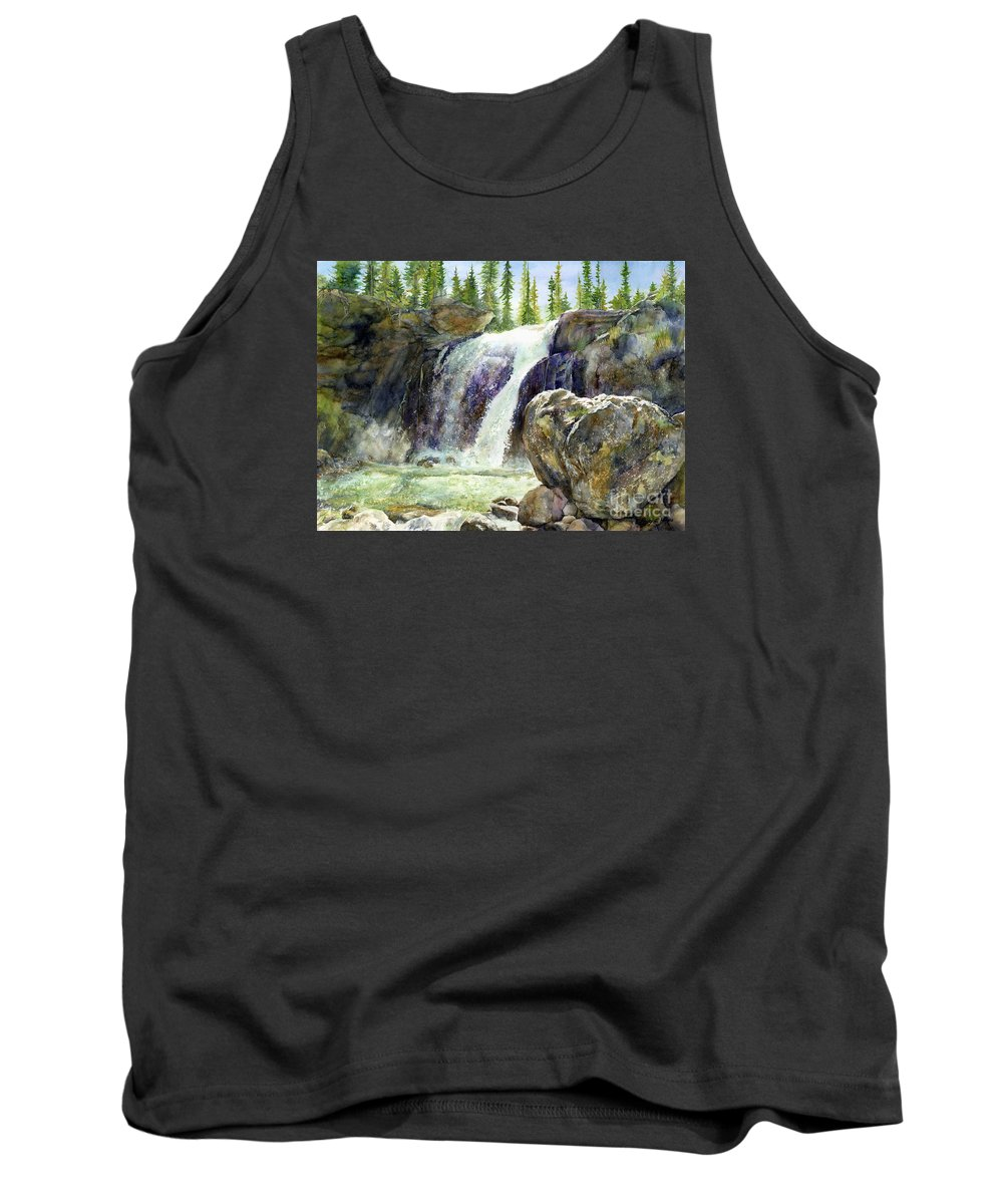Watercolor Tank Top featuring the painting Waterfall by Hailey E Herrera