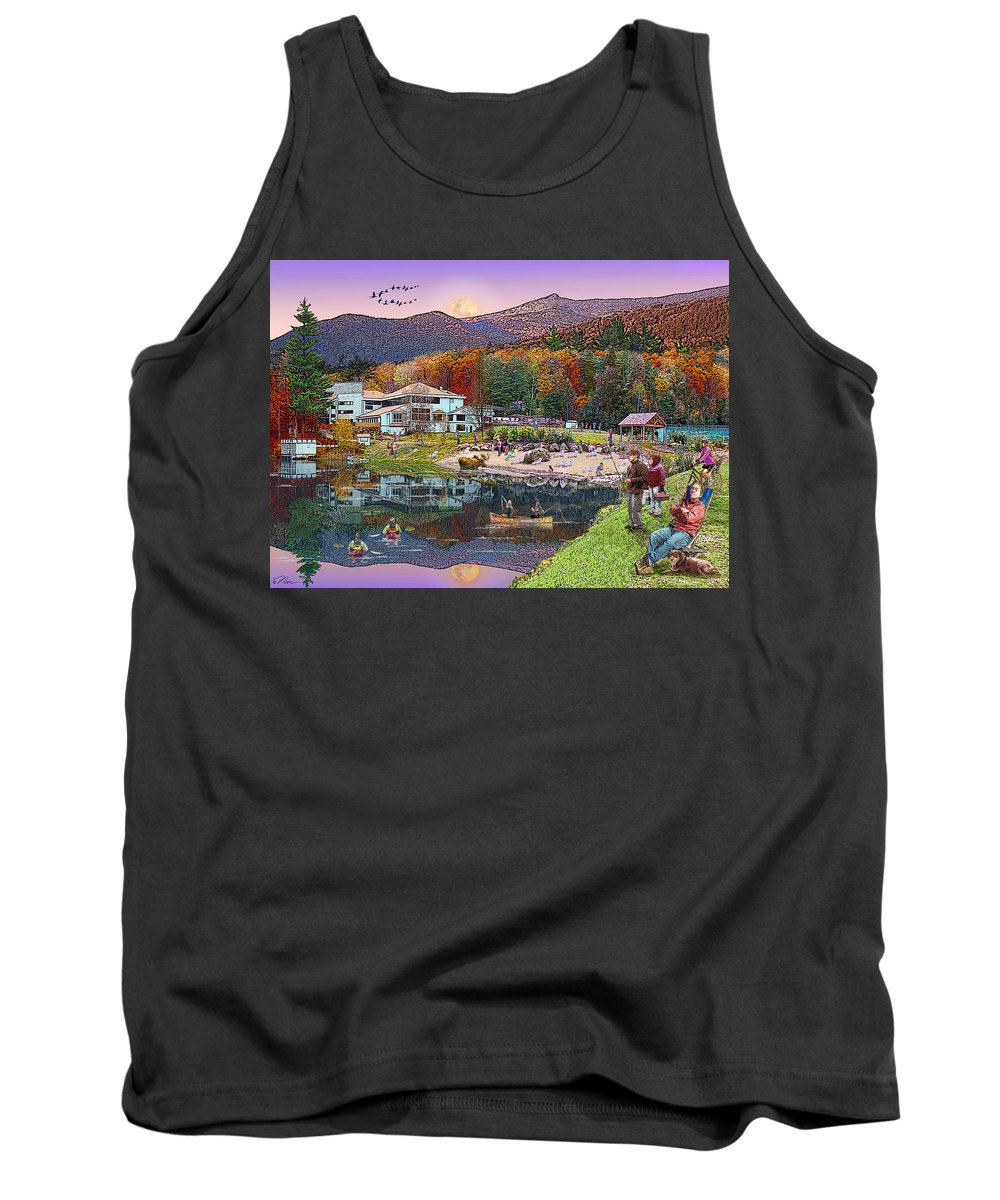 Waterville Estates Tank Top featuring the digital art Waterville Estates In Autumn by Nancy Griswold