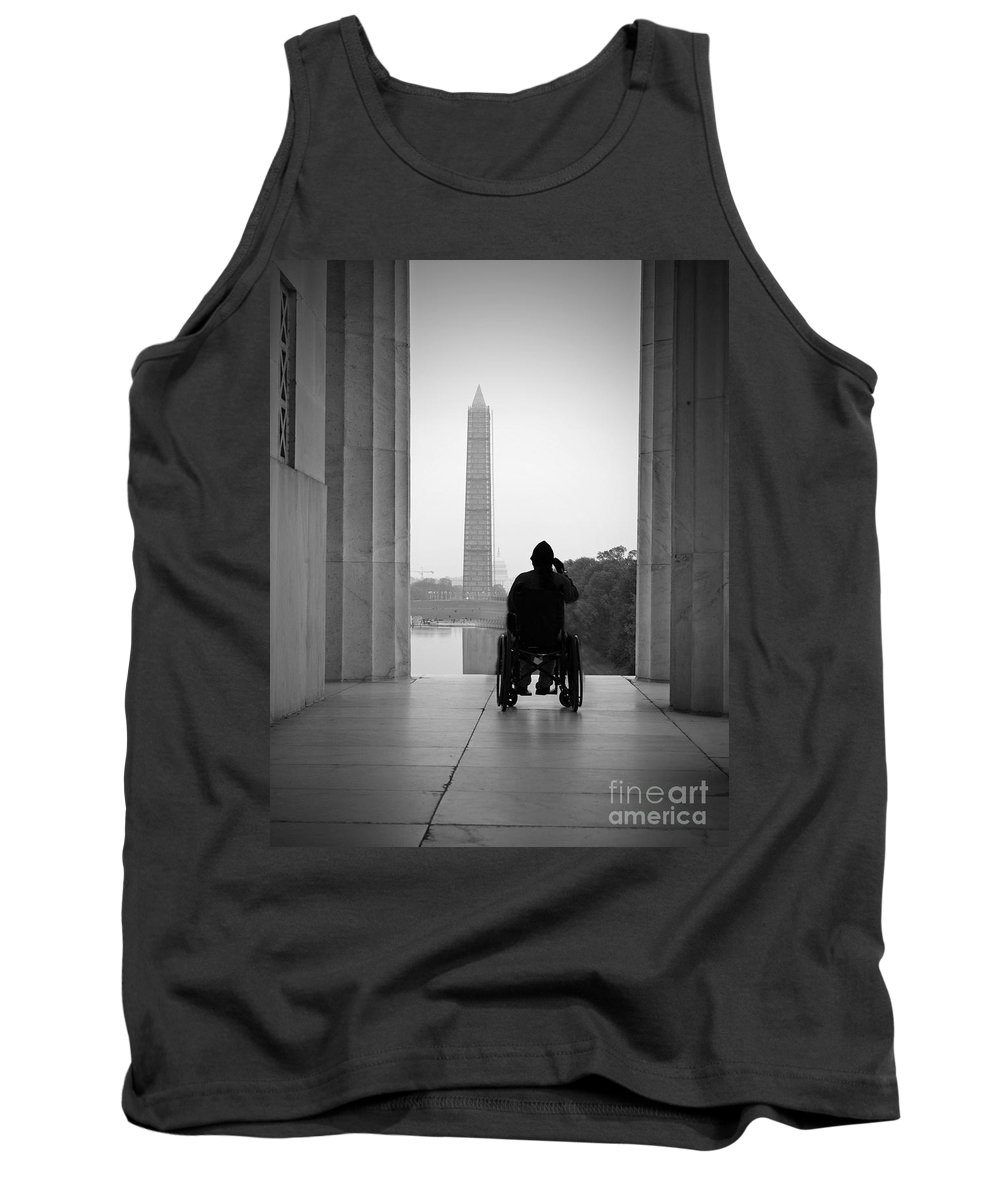 Vet Tank Top featuring the photograph Wheelchair Vet Salute by Jost Houk