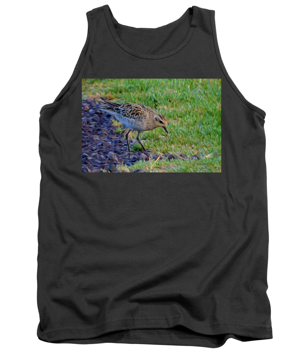 Bird Tank Top featuring the mixed media Where Is Breakfast by Pamela Walton