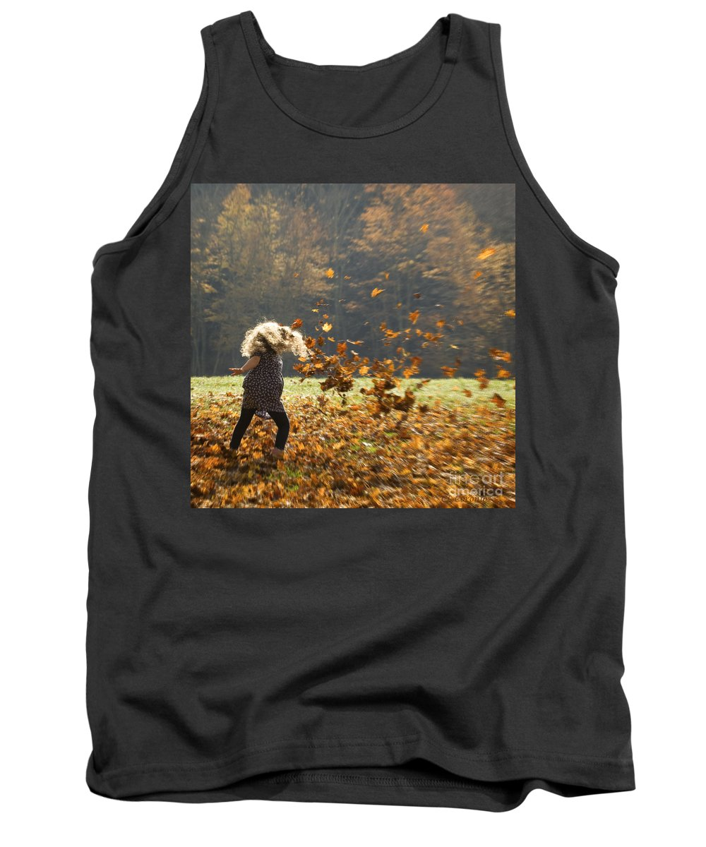 Fall Tank Top featuring the photograph Whirling With Leaves by Carol Lynn Coronios