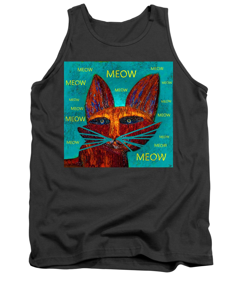 Cat Tank Top featuring the painting Whiskers Meowing by David Lee Thompson