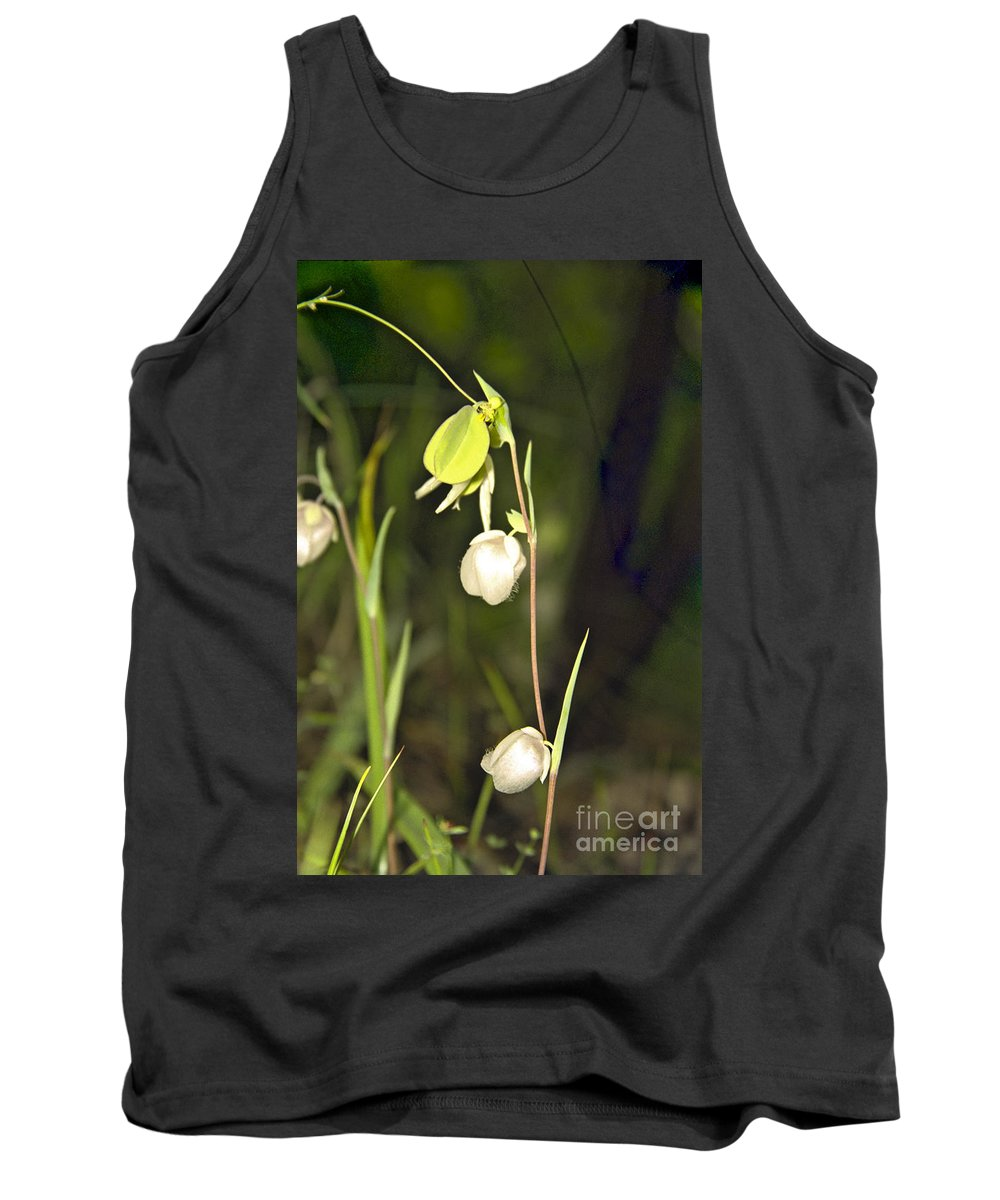 Wildflowers; Globes; Nature; Green; White Tank Top featuring the photograph Whispers by Kathy McClure