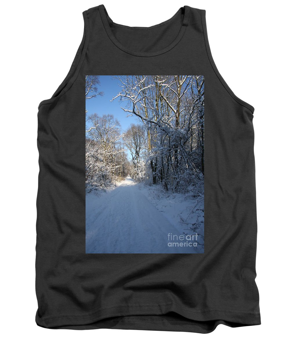 Winter Tank Top featuring the photograph White And Blue by Christiane Schulze Art And Photography