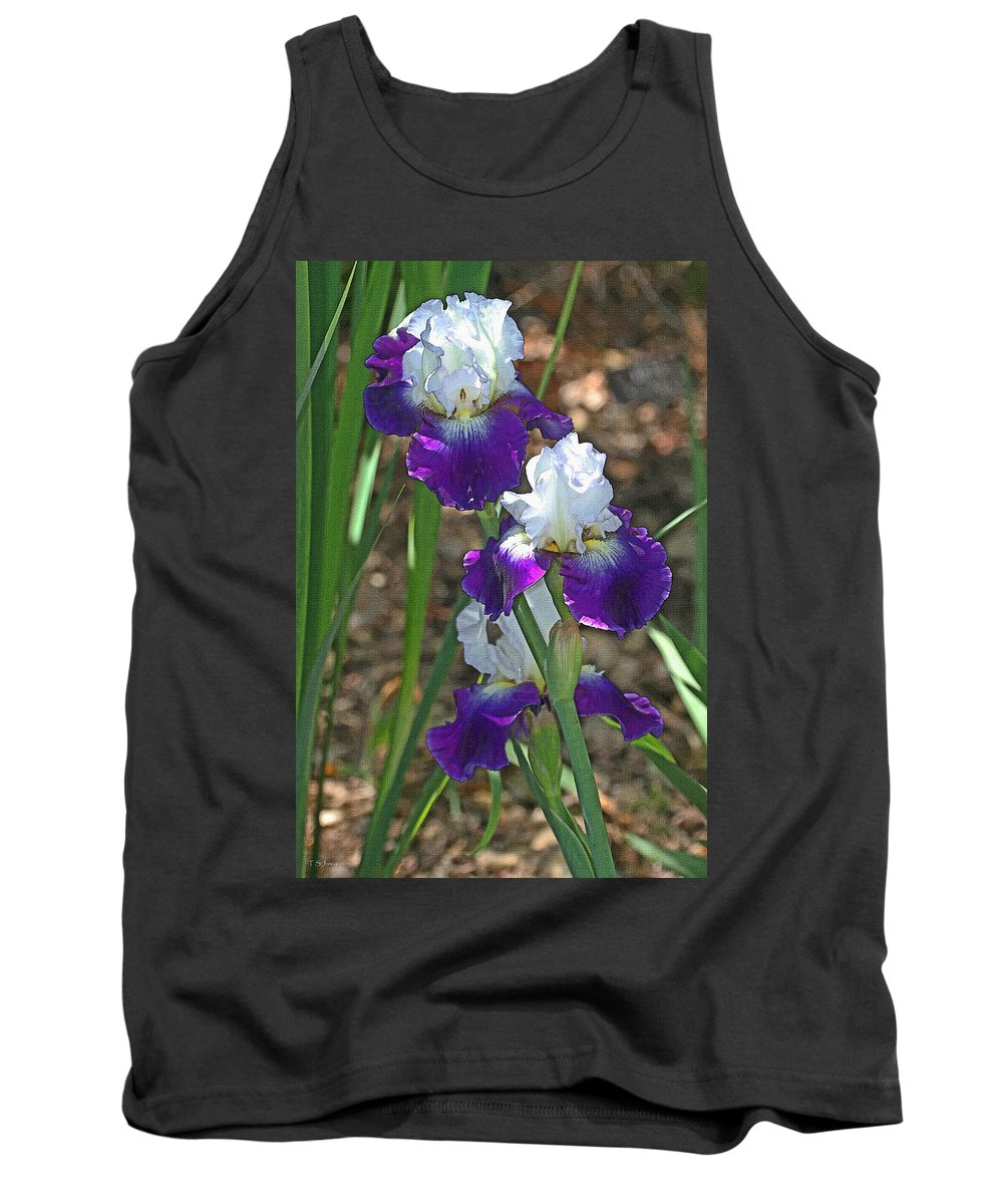 White And Blue Iris Stalks At Boyce Thompson Arboretum Tank Top featuring the photograph White And Blue Iris Stalks At Boyce Thompson Arboretum by Tom Janca