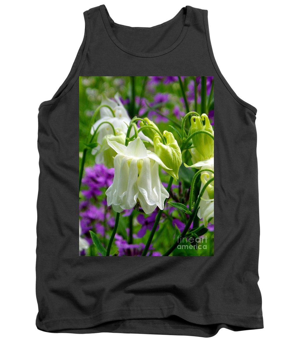 Tank Top featuring the photograph White Columbine Lanterns Verticle by Renee Croushore