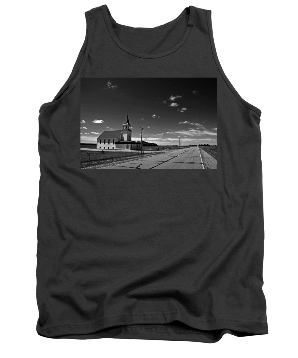 Church Tank Top featuring the photograph White Country Chuch And Road by Donald Erickson