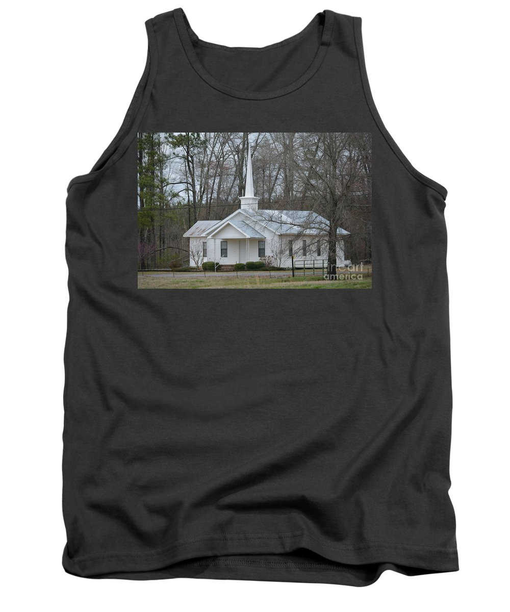 Stained Glass Tank Top featuring the photograph White Country Church Series Photo B by Barb Dalton