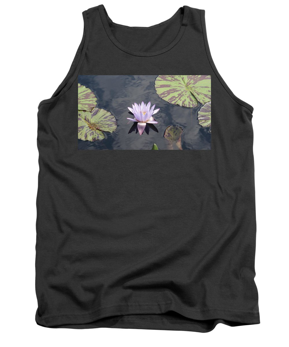 White Tank Top featuring the photograph White Light Blue Tiped Waterlily by Rob Luzier
