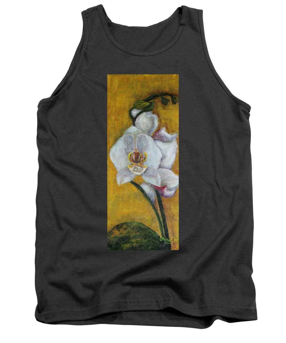 Floral Tank Top featuring the painting White Orchid by Olesya Sytnyk