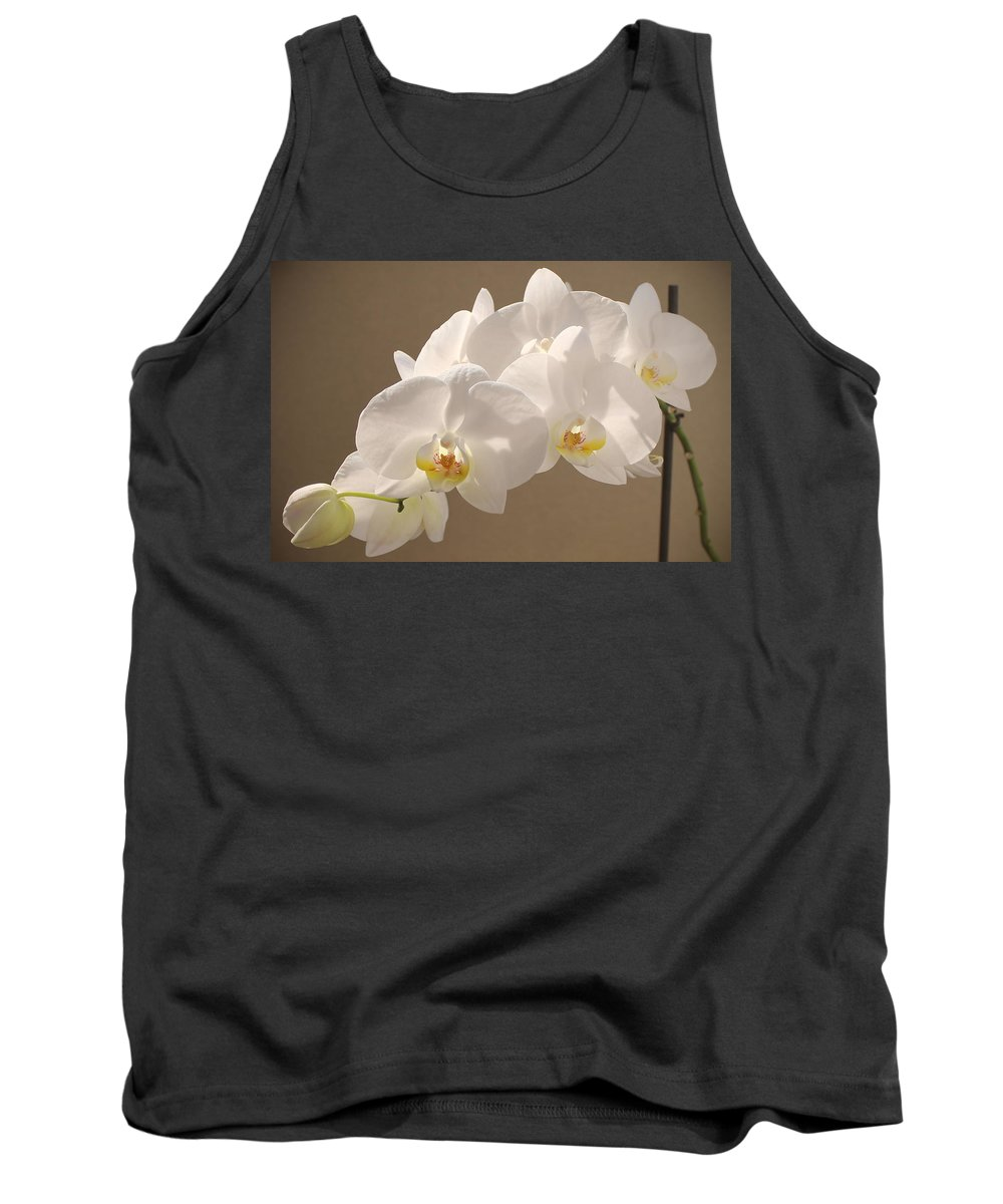 Orchid Tank Top featuring the painting White Orchid Photograph by Georgeta Blanaru