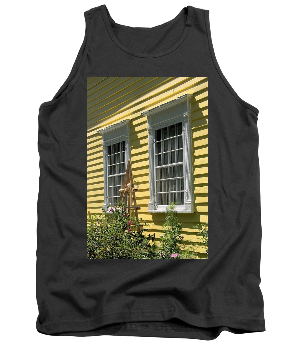 Architecture Tank Top featuring the photograph White Windows Yellow Wall by Valerie Kirkwood