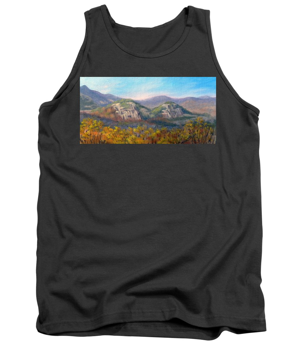 Landscape Tank Top featuring the painting Whitehorse And Cathedral Ledges From The Red Jacket Inn by Sharon E Allen
