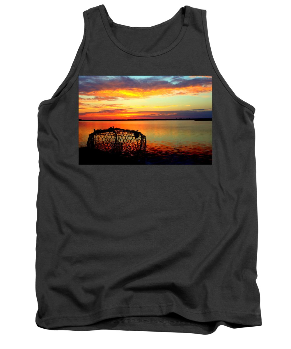 Crab Pots Tank Top featuring the photograph Why Men Fish by Karen Wiles